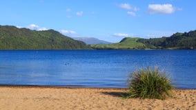 New Zealand lake panorama. Lake Okareka from Boyes Beach royalty free stock photos