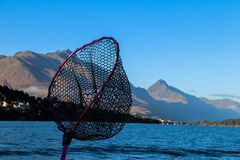 Fishing New Zealand South Island lakes and mountains. New Zealand lakes, mountains and fishing in the summer of 2019 stock photos