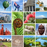 New Zealand landmarks collage Royalty Free Stock Images