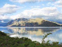New Zealand landscape. Photo of a lake and a mountain in Wanaka, New Zealand Stock Image