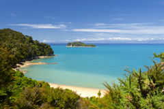New Zealand liggande. Abel Tasman nationalpark. royaltyfria foton