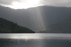 New Zealand Light Rays. Light rays at Punga Cove Royalty Free Stock Image