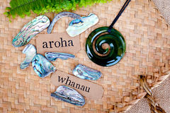 New Zealand - Maori theme. NZ - Kiwi - Maori theme - backgrounds and objects - maori words for aroha - love and respect and whanau - family stock photo