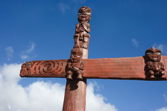 New Zealand maori traditional carving Stock Photo