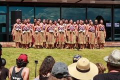 New Zealand Maori traditional dance performers in front of a crowd. A group of Maori dancers in kapa haka costumes consisting of a tipare, or headband; pari, or stock image