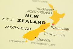 New Zealand on map. Close up of Wellington, New Zealand on map Stock Photos