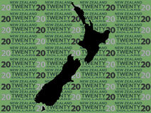 New Zealand map and currency. Illustration Stock Images