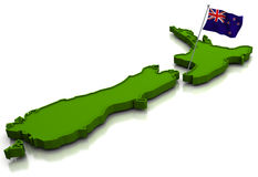 New Zealand - Map and Flag Royalty Free Stock Image