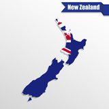 New Zealand map with flag inside and ribbon Stock Images