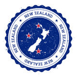 New Zealand map and flag in vintage rubber stamp. Stock Image