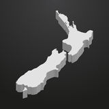 New Zealand map in gray on a black background 3d Royalty Free Stock Photo