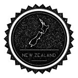 New Zealand Map Label with Retro Vintage Styled. Stock Photos