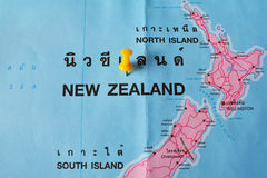 New Zealand map. Macro shot of New Zealand map with push pin Stock Photography