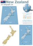 New Zealand maps with markers Stock Photo