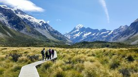 Travel image of hikers visiting the beautiful landscape in New Zealand stock photo