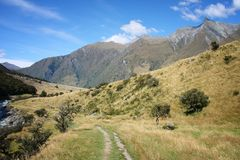 Mount Aspiring National Park. New Zealand mountains - beautiful hiking trail of Mount Aspiring National Park royalty free stock image