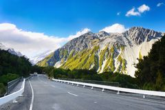 New Zealand, Mountains, Road, Mt. Cook National Park. Road to the mountains - Aoraki /Mount Cook National Park. Canterbury region, South island. New Zealand Stock Photography