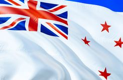 New Zealand Naval ensign flag. 3D Waving flag design. The national symbol of New Zealand Naval ensign, 3D rendering. National. Colors and National flag of New stock photography