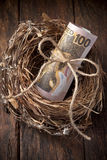 New Zealand Nest Egg Money. A nest with a roll of New Zealand money on a wood background Stock Images