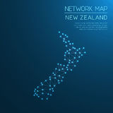 New Zealand network map. Abstract polygonal map design. Internet connections vector illustration Royalty Free Stock Photography