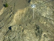 New Zealand Nevis bungee jump. Panel in the middle of a rocky canyon stock images