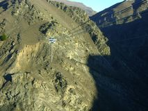 New Zealand Nevis bungee jump. Panel in the middle of a rocky canyon stock photos