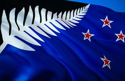New Zealand new flag. 3D Waving flag design. The national symbol of New Zealand new, 3D rendering. New Zealand new 3D Waving sign. Design. Waving sign royalty free stock images