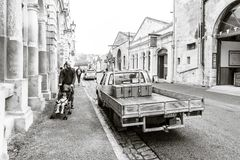 NEW ZEALAND, OAMARU, OAMARU VICTORIAN HERITAGE PRECINCT - FEBRUARY 2016: An unidentified man pushing his baby on a stroller stock images