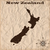 New Zealand old map with grunge and crumpled paper. Vector illustration Royalty Free Stock Images