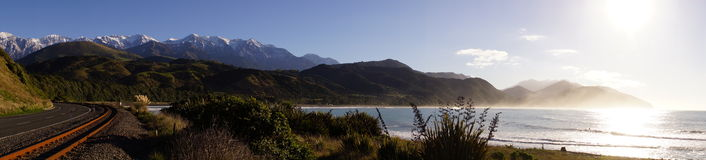 New Zealand Panorama. A panorama taken on the east coast of the South Island of New Zealand Stock Photos