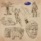 New Zealand. Pictures of Life. Vector pack. Hand drawings. Royalty Free Stock Images