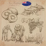 New Zealand. Pictures of Life. Vector pack. Hand drawings. Royalty Free Stock Photo