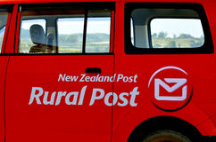 New Zealand Post. MANGONUIE, NZ - MAR 21 2014:New Zealand Post logo.In 2013 New Zealand Post company outlined a plan to reduce this to three, in the wake of Royalty Free Stock Photo