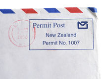New Zealand Postmark. Closeup for New Zealand postmark (2000 yr.)isolated on white royalty free stock image
