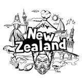 New Zealand print design. Oceanian traditional symbols and attractions royalty free illustration