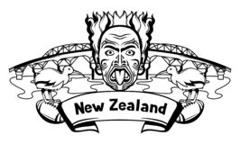 New Zealand print design. Oceanian traditional symbols and attractions stock illustration