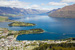 New zealand, queenstown with lake wakatipu Stock Photos