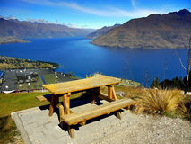 New Zealand, Queenstown. Queenstown and Lake Wakatipu. View from the top of the Skyline gondola. New Zealand Royalty Free Stock Photos