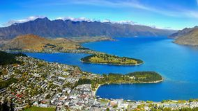New Zealand, Queenstown, Wakatipu Lake, Aerial View. Aerial panoramic view of Queenstown and scenic blue Wakatipu Lake. New Zealand Royalty Free Stock Images