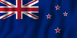 New Zealand realistic waving flag vector illustration. National country background symbol. Independence day.  Vector Illustration