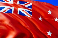 New Zealand Red ensign flag. 3D Waving flag design. The national symbol of New Zealand Red ensign, 3D rendering. National colors. And National flag of New royalty free stock images