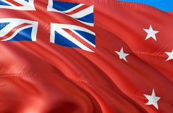 New Zealand Red ensign flag. 3D Waving flag design. The national symbol of New Zealand Red ensign, 3D rendering. The national. Symbol of New Zealand Red ensign royalty free stock images
