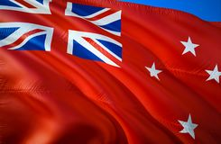 New Zealand Red ensign flag. 3D Waving flag design. The national symbol of New Zealand Red ensign, 3D rendering. New Zealand Red. Ensign 3D Waving sign design royalty free stock photo