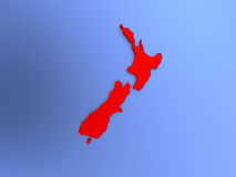 New Zealand in red on map Stock Image