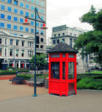 New Zealand red telephone box. Red telephone box in Christchurch, New Zealand Royalty Free Stock Images
