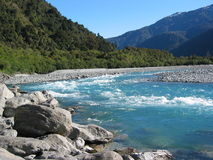 New Zealand River. Glacial river in New Zealand, South Island Stock Image
