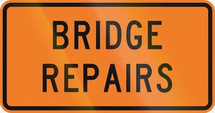 New Zealand road sign - Bridge repairs being done Royalty Free Stock Images