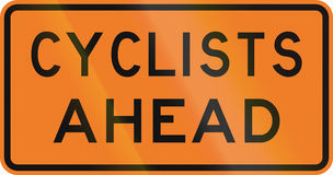New Zealand road sign - Cyclists ahead Royalty Free Stock Photo