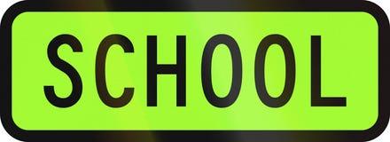 New Zealand road sign - Designated school vehicle Stock Photo