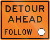 New Zealand road sign - Detour ahead, follow circle symbol.  Stock Photos